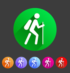 Hiking treking icon icon flat web sign symbol logo vector