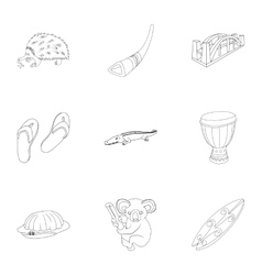 Holiday in Australia icons set outline style vector image