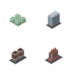 isometric architecture set of office clinic vector image