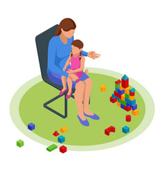 Isometric concept mom tells children tales in vector
