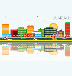 Juneau skyline with color buildings blue sky vector