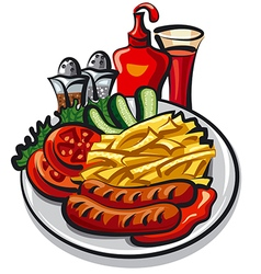 Ketchup and sausages vector
