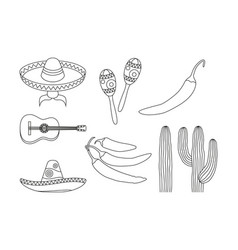 Line art black and white 8 mexican elements vector