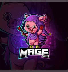 Magic mage pig esport logo design vector