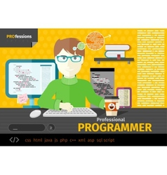 Male programmer with digital devices on workplace vector image