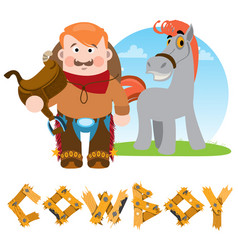 Man and horse cowboy rodeo wild west vector