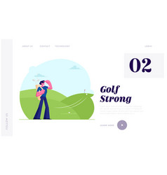 man with professional equipment playing golf vector image