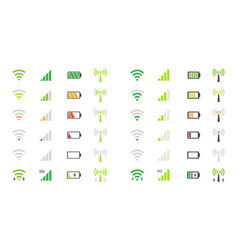 Mobile phone system icons wifi signal strength vector