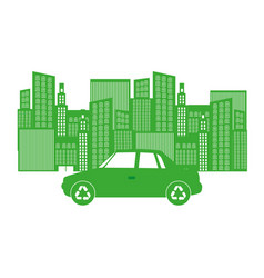monochrome background with city buildings and car vector image