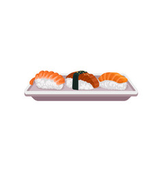 nigiri sushi with shrimp and salmon on rectangular vector image