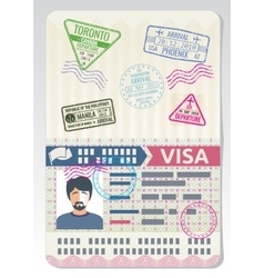 Open custom passport with visa stamps Business vector