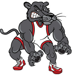 panther sports logo mascot wrestling vector image