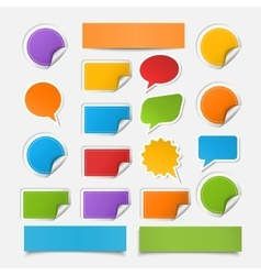 Paper sheetspeech bublesstickers set vector