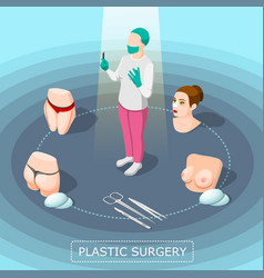 Plastic surgery isometric design concept vector
