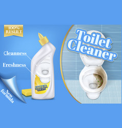 Poster of toilet cleaner ads before and vector