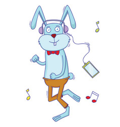 rabbit listening to the music vector image
