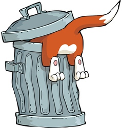 red cat in a trash can vector image