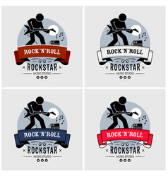 rock and roll logo design artwork of a rock star vector image