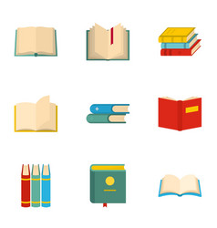 school textbook icons set cartoon style vector image