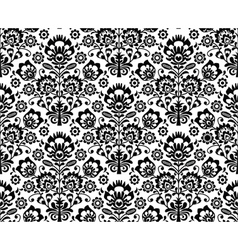 seamless floral polish pattern in black and white vector image