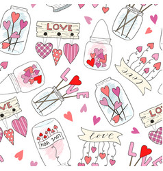 Seamless pattern with cute jam jar perfect vector