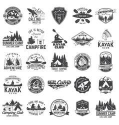 Set canoe kayak and camping club badge vector