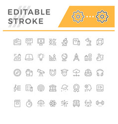 set editable stroke line icons education vector image