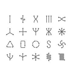 Set flexibility line icons different vector