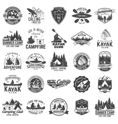 set of canoe kayak and camping club badge vector image