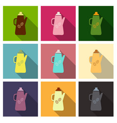 Set of french press coffee maker flat material vector