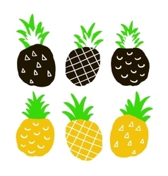 Set of hand drawn ananas vector image