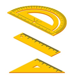 Set of Isometric measuring tools rulers triangles vector image