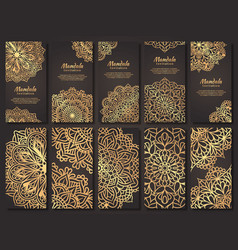 Set of luxury wedding invitation card with gold vector