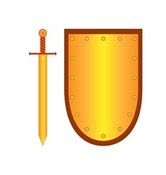 Set of sign shield and sword gold 2308 vector