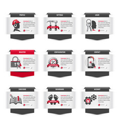 set web thumbnails with user interface symbols vector image