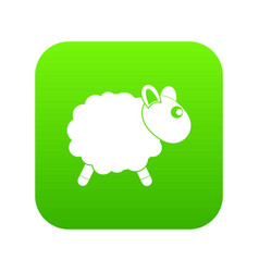 Sheep icon digital green vector