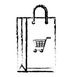 Shopping bag paper with cart shopping isolated vector