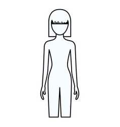sketch silhouette of faceless front view woman vector image