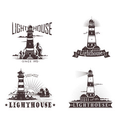 Sketches of lighthouse with lamp on mountain vector