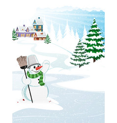 snow village landscape vector image