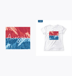 summer graphic womens t-shirt design colorful vector image