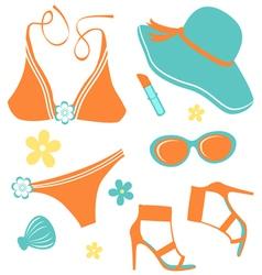 Summer women set vector image