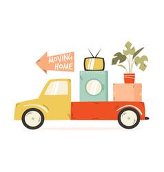 truck carrying cardboard box washing machine tv vector image