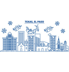 Usa texas el paso winter city skyline merry vector