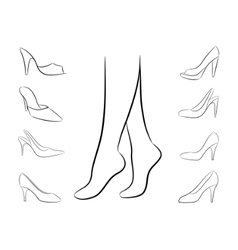 vector silhouette of feet and shoes vector image