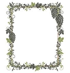 Vine leaves grapes frame vector