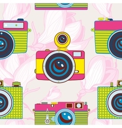 Vintage cameras colorful seamless pattern vector image