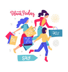 women carrying shopping paper bag running for vector image