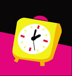 yellow alarm clock on a black and pink background vector image