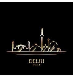 Gold silhouette of Delhi on black background vector image